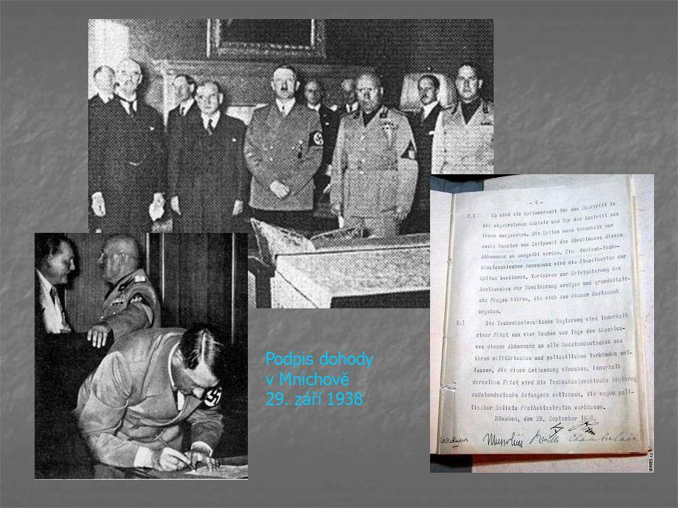 Podpis dohody v Mnichově 29. září 1938