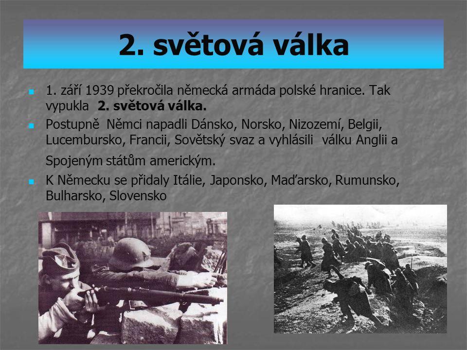2. světová válka 1. září 1939 překročila německá armáda polské hranice. Tak vypukla 2. světová válka. Postupně Němci napadli Dánsko, Norsko, Nizozemí,