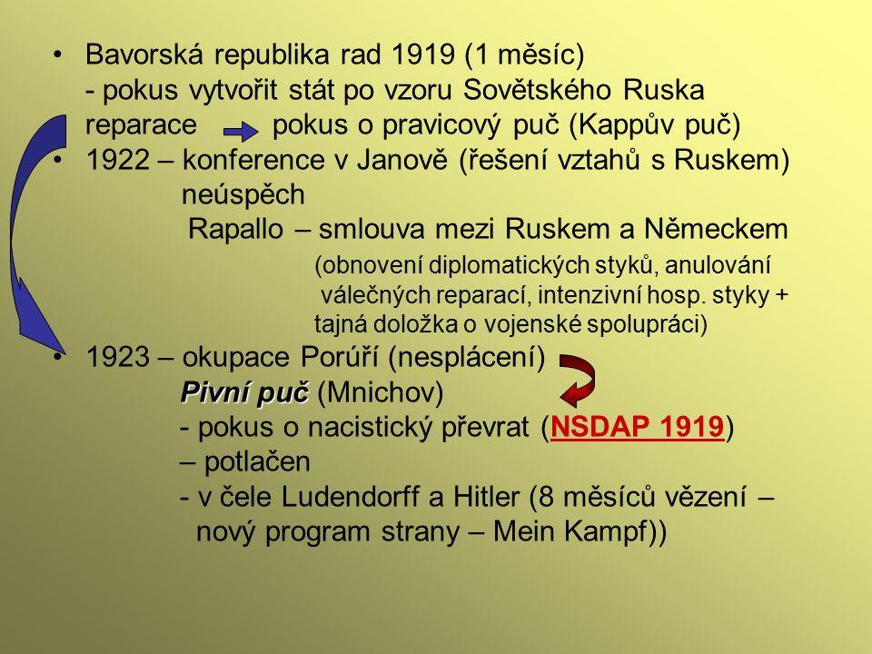 Bavorská republika rad 1919 (1 měsíc) - pokus vytvořit stát po vzoru Sovětského Ruska reparace pokus o pravicový puč (Kappův puč) 1922 – konference v
