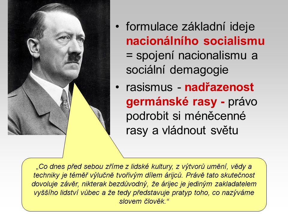 """revize versailleského systémurevize versailleského systému - anexe a reparace uvrhly Německo do bídy – kapitulace 1918 - zrada neschopných politiků antisemitismusantisemitismus - viníci """"německého národního neštěstí - Židé, komunisté nárok na životní prostor Lebensraum Třetí říšinárok na životní prostor – Lebensraum ( podle Hitlera je německý národ stísněn na svém dosavadním území a po válce ještě musel bezprávně část území odstoupit) - směrem na východ, hlavně na úkor méněcenných Slovanů (""""Drang nach Osten ) - spojit všechny Němce žijící kdekoli v Evropě do jednotného státu - Velkého Německa, vytvořit Třetí říši (po Sv."""