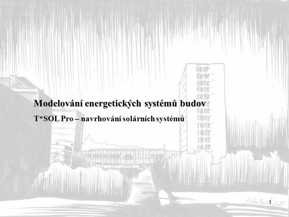 2 globální záření 1367 W/m 2 (zemská atmosféra) energie záření na zemský povrch 50-1000 W/m 2 množství dopadené energie ~ 1000 kWh/m 2,rok (75% léto) využitelná energie 300-600 kWh/m 2 denní zisk ~ 8 kWh/m 2 (jih, jasný den), 2-3 kWh/m 2 dopadající energie – přímé a difúzní záření jasná obloha 800 – 1000 W/m 2 lehce zataženo 400 – 700 W/m 2 zcela zataženo 50 – 300 W/m 2