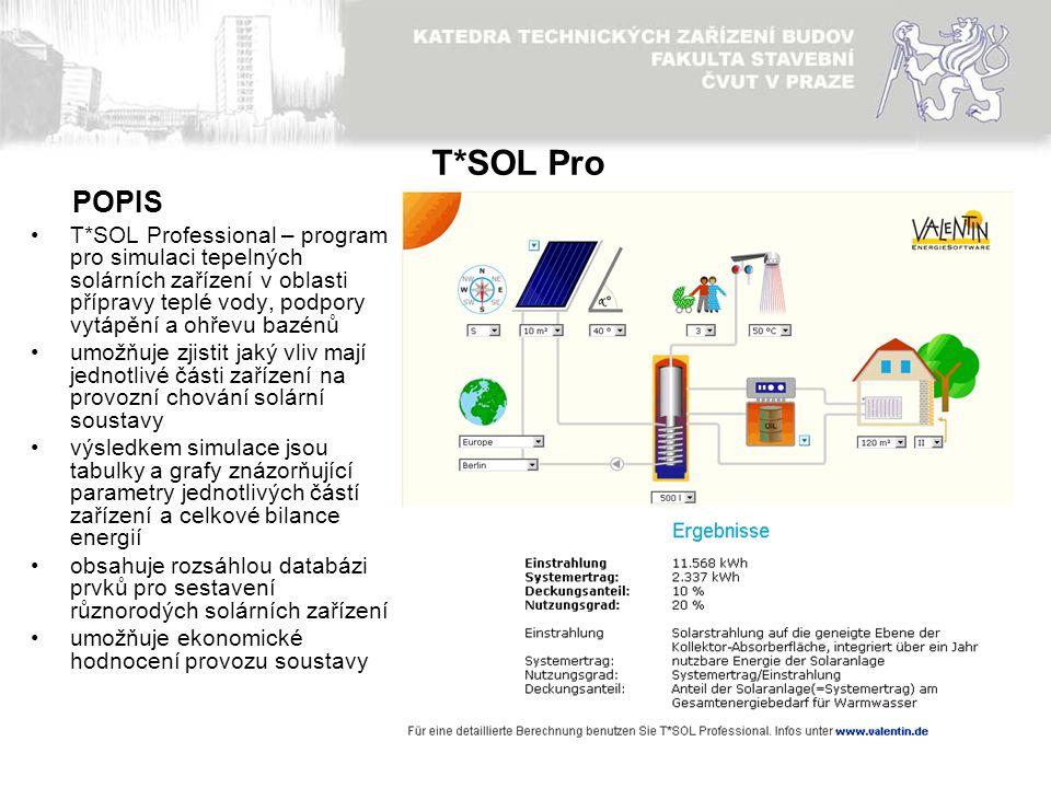 11 T*SOL Pro T*SOL Professional – program pro simulaci tepelných solárních zařízení v oblasti přípravy teplé vody, podpory vytápění a ohřevu bazénů um