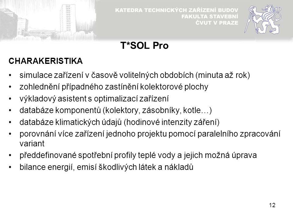 12 T*SOL Pro simulace zařízení v časově volitelných obdobích (minuta až rok) zohlednění případného zastínění kolektorové plochy výkladový asistent s o