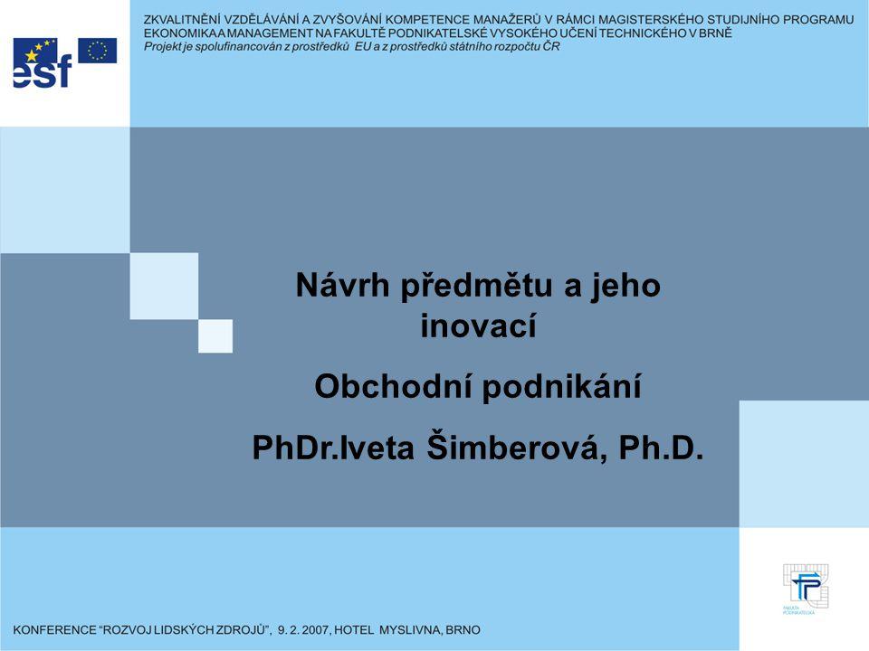 Návrh předmětu a jeho inovací Obchodní podnikání PhDr.Iveta Šimberová, Ph.D.