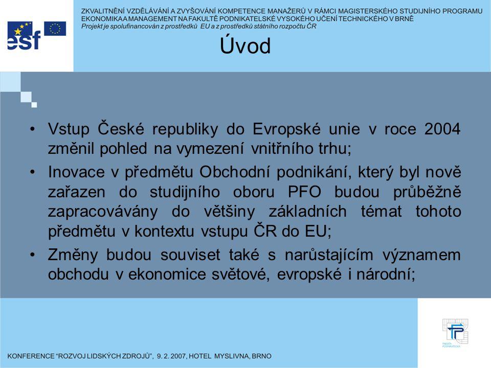 Úvod Vstup České republiky do Evropské unie v roce 2004 změnil pohled na vymezení vnitřního trhu; Inovace v předmětu Obchodní podnikání, který byl nově zařazen do studijního oboru PFO budou průběžně zapracovávány do většiny základních témat tohoto předmětu v kontextu vstupu ČR do EU; Změny budou souviset také s narůstajícím významem obchodu v ekonomice světové, evropské i národní;
