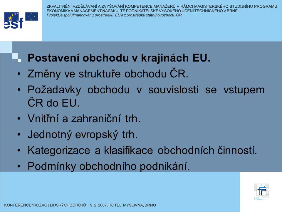Postavení obchodu v krajinách EU. Změny ve struktuře obchodu ČR.