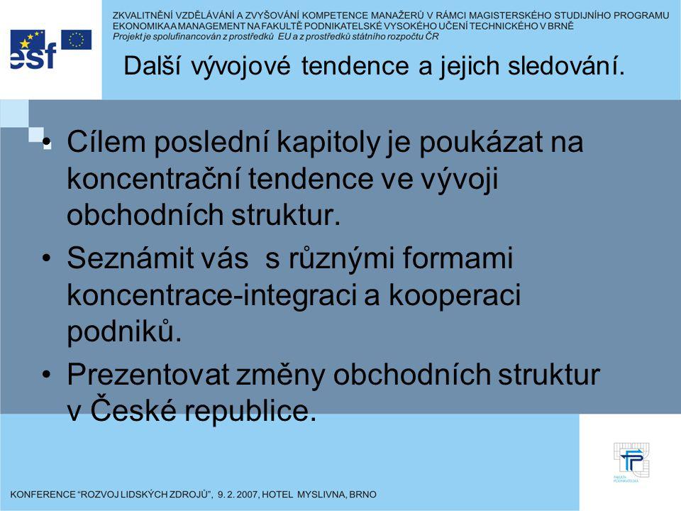 Shrnutí Předmět má rozsah 2-1 (2 hod/týdně přednášek a 1 hod/týdně cvičení) Smyslem přednášek je poskytnout ucelený teoretický přehled o současném stavu poznání a dalším vývoji vnitřního obchodu v chápání nových podmínek (po vstupu ČR do EU).