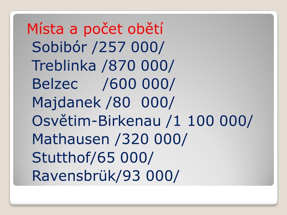 Místa a počet obětí Sobibór /257 000/ Treblinka /870 000/ Belzec /600 000/ Majdanek /80 000/ Osvětim-Birkenau /1 100 000/ Mathausen /320 000/ Stutthof