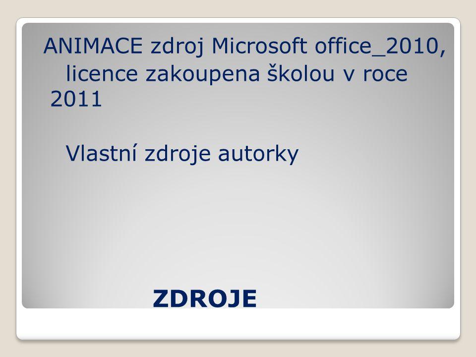 ZDROJE ANIMACE zdroj Microsoft office_2010, licence zakoupena školou v roce 2011 Vlastní zdroje autorky