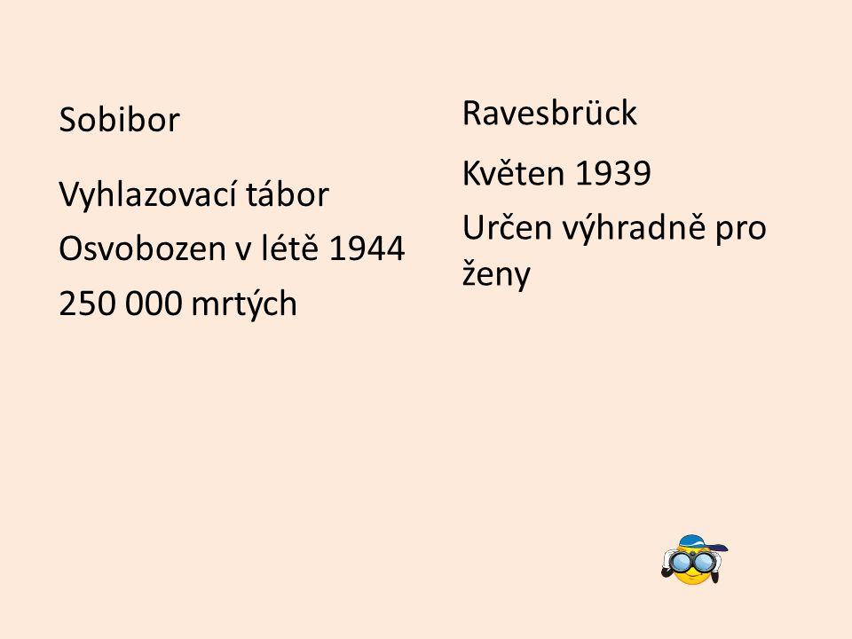 Vyhlazovací tábor Osvobozen v létě 1944 250 000 mrtých Sobibor Ravesbrück Květen 1939 Určen výhradně pro ženy