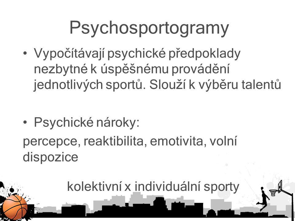 Psychosportogramy Vypočítávají psychické předpoklady nezbytné k úspěšnému provádění jednotlivých sportů. Slouží k výběru talentů Psychické nároky: per