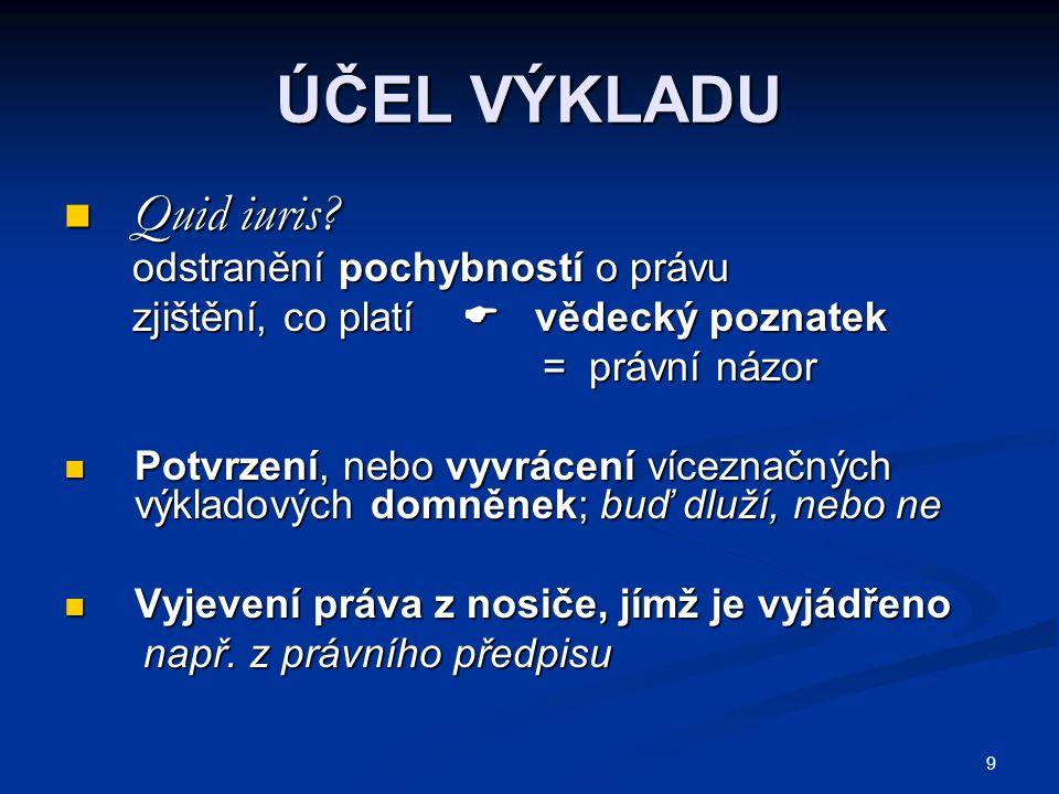 9 ÚČEL VÝKLADU Quid iuris. Quid iuris.
