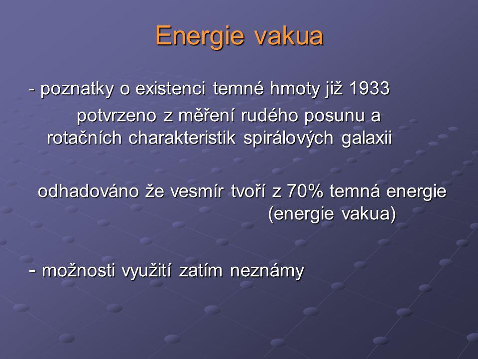 Energie vakua - poznatky o existenci temné hmoty již 1933 potvrzeno z měření rudého posunu a rotačních charakteristik spirálových galaxii odhadováno ž