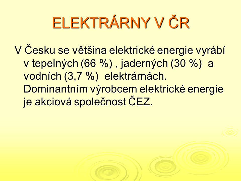 ELEKTRÁRNY V ČR V Česku se většina elektrické energie vyrábí v tepelných (66 %), jaderných (30 %) a vodních (3,7 %) elektrárnách.