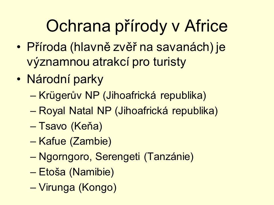 Ochrana přírody v Africe Příroda (hlavně zvěř na savanách) je významnou atrakcí pro turisty Národní parky –Krügerův NP (Jihoafrická republika) –Royal Natal NP (Jihoafrická republika) –Tsavo (Keňa) –Kafue (Zambie) –Ngorngoro, Serengeti (Tanzánie) –Etoša (Namibie) –Virunga (Kongo)