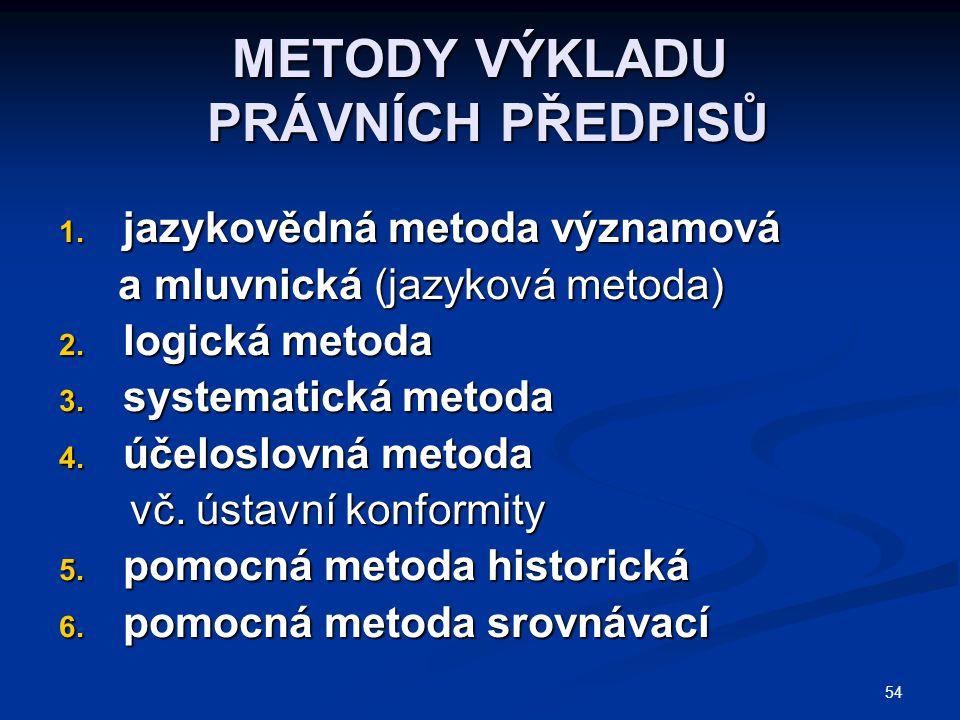54 METODY VÝKLADU PRÁVNÍCH PŘEDPISŮ 1. jazykovědná metoda významová a mluvnická (jazyková metoda) a mluvnická (jazyková metoda) 2. logická metoda 3. s