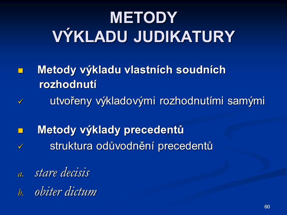 60 METODY VÝKLADU JUDIKATURY Metody výkladu vlastních soudních Metody výkladu vlastních soudních rozhodnutí rozhodnutí utvořeny výkladovými rozhodnutí