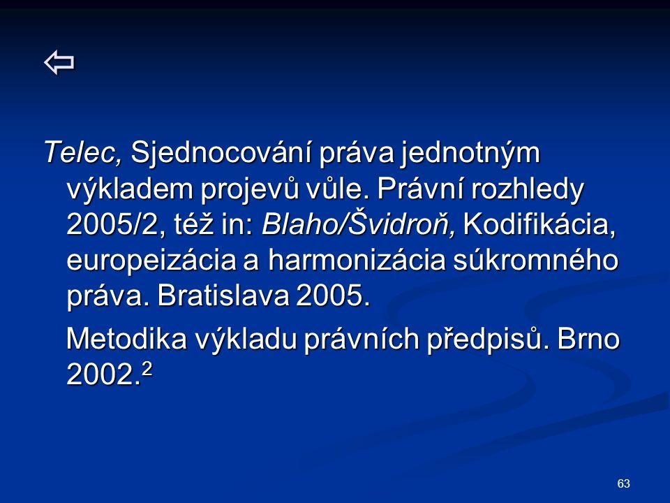 63  Telec, Sjednocování práva jednotným výkladem projevů vůle. Právní rozhledy 2005/2, též in: Blaho/Švidroň, Kodifikácia, europeizácia a harmonizáci