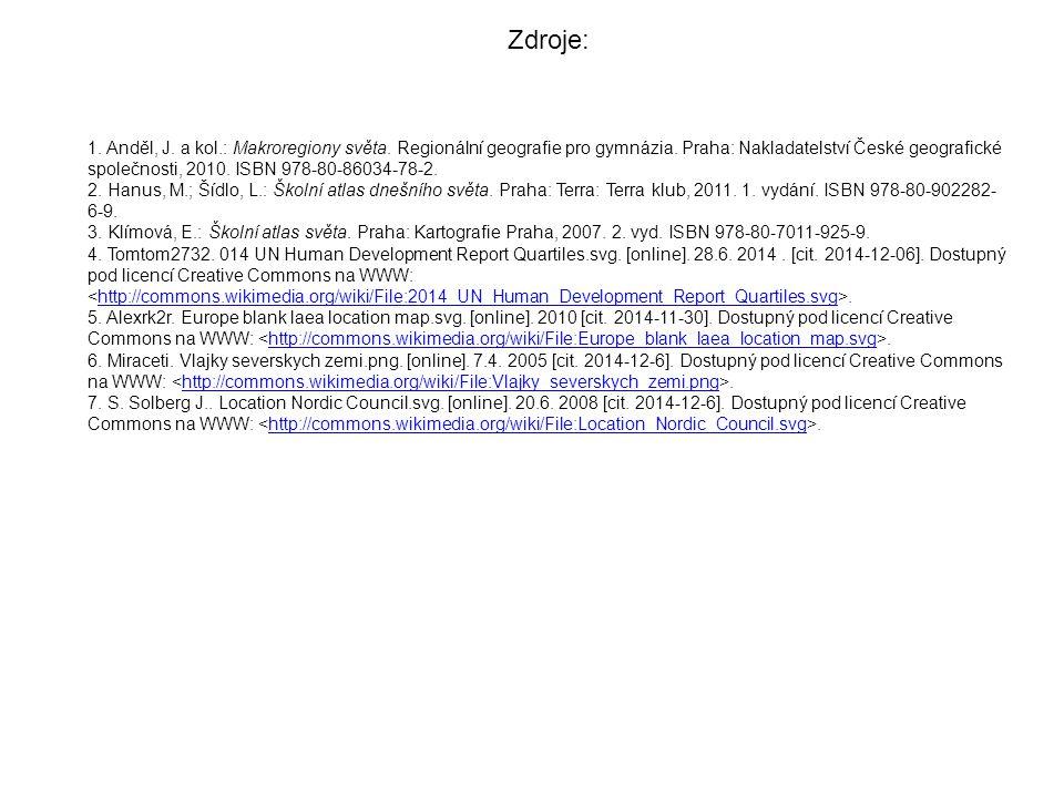 1. Anděl, J. a kol.: Makroregiony světa. Regionální geografie pro gymnázia. Praha: Nakladatelství České geografické společnosti, 2010. ISBN 978-80-860