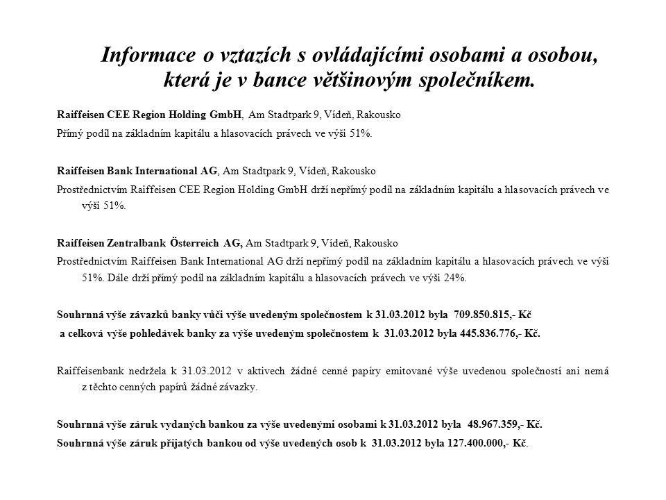 Informace o vztazích s ovládajícími osobami a osobou, která je v bance většinovým společníkem. Raiffeisen CEE Region Holding GmbH, Am Stadtpark 9, Víd