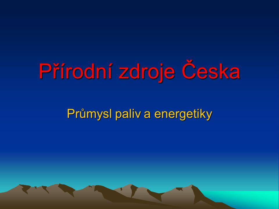 Přírodní zdroje Česka ČR má málo přírodních zdrojů Uhlí již téměř vyčerpáno Velmi malé zásoby ropy a zemního plynu (nutný dovoz) Voda – řeky malý spád a vodnatost Vítr jen v horských oblastech