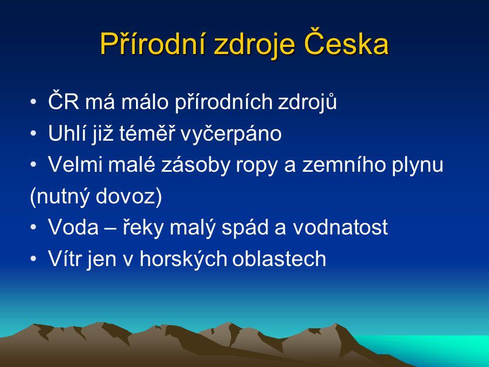 Přírodní zdroje Česka ČR má málo přírodních zdrojů Uhlí již téměř vyčerpáno Velmi malé zásoby ropy a zemního plynu (nutný dovoz) Voda – řeky malý spád