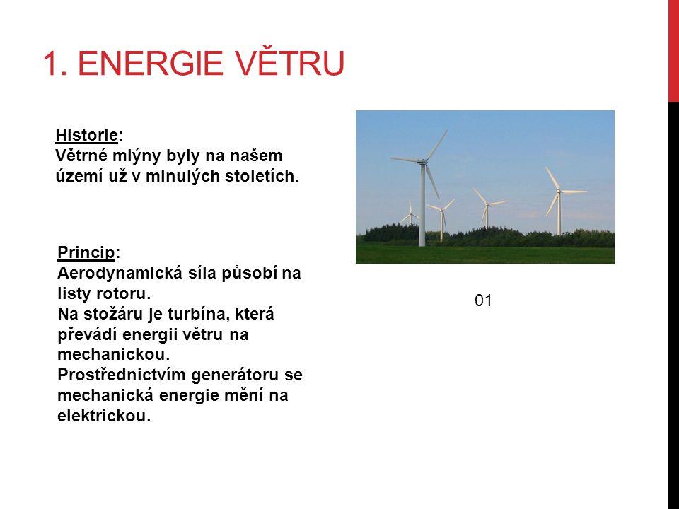 1. ENERGIE VĚTRU Historie: Větrné mlýny byly na našem území už v minulých stoletích.