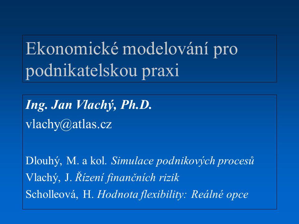 Ekonomické modelování Sylabus 1.Východiska ekonomického modelování –Typologie a rizika používání ekonomických modelů –Definice, popis a kvantifikace rizika –Simulace stochastických jevů –Jednoduché aplikace 2.Aplikace modelů při řízení tržních rizik –Citlivostní analýza –Dynamické zajišťování –Value at Risk 3.Aplikace modelů při posuzování investičních projektů –Od analýz citlivosti ke statistickým simulacím –Reálné opce