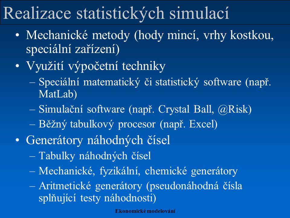 Ekonomické modelování Realizace statistických simulací Mechanické metody (hody mincí, vrhy kostkou, speciální zařízení) Využití výpočetní techniky –Sp