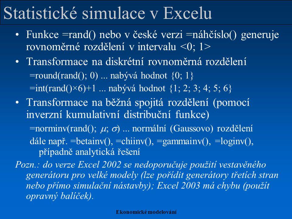 Ekonomické modelování Statistické simulace v Excelu Funkce =rand() nebo v české verzi =náhčíslo() generuje rovnoměrné rozdělení v intervalu Transforma