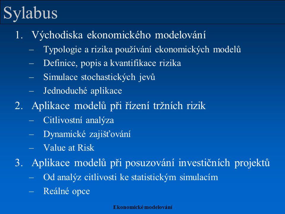 Ekonomické modelování Sylabus 1.Východiska ekonomického modelování –Typologie a rizika používání ekonomických modelů –Definice, popis a kvantifikace r