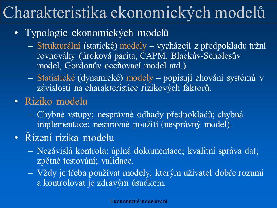 Ekonomické modelování Charakteristika ekonomických modelů Typologie ekonomických modelů –Strukturální (statické) modely – vycházejí z předpokladu tržn