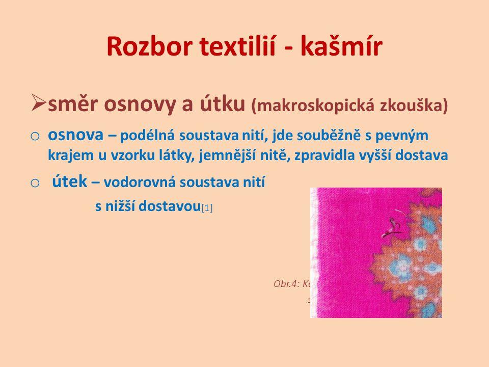 Rozbor textilií - kašmír  vazba – keprová (makroskopická zkouška) o vazba keprová - šikmé řádky pod úhlem 45°, pružnost, měkkost, zakresluje se na základě dekompozice (párání) vzorku na vzornicový papír [1] Obr.5: Kašmír – dekompozice vzorku.