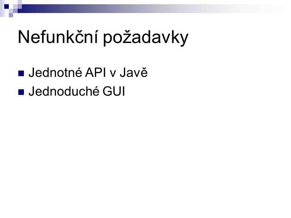 Nefunkční požadavky Jednotné API v Javě Jednoduché GUI
