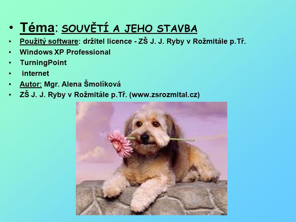 Téma: SOUVĚTÍ A JEHO STAVBA Použitý software: držitel licence - ZŠ J.