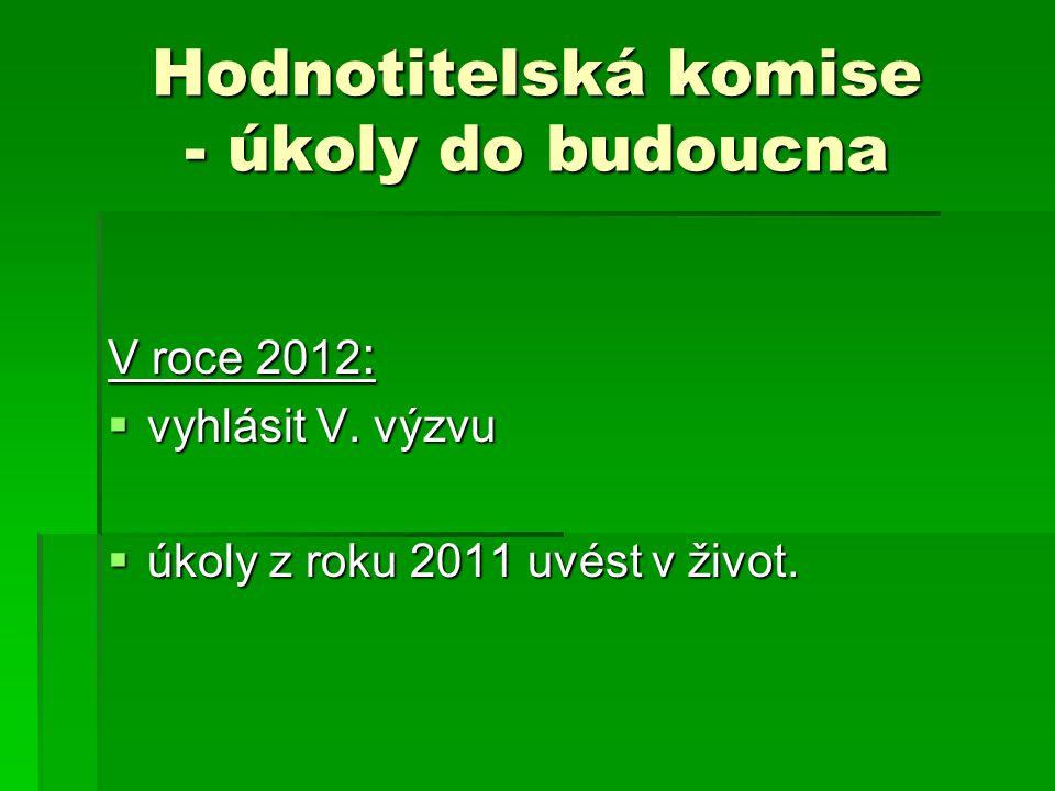 Hodnotitelská komise - úkoly do budoucna V roce 2012 :  vyhlásit V.