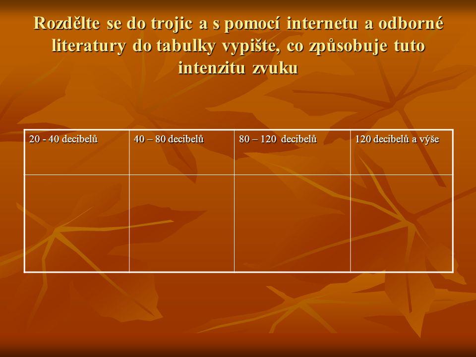 Rozdělte se do trojic a s pomocí internetu a odborné literatury do tabulky vypište, co způsobuje tuto intenzitu zvuku 20 - 40 decibelů 40 – 80 decibelů 80 – 120 decibelů 120 decibelů a výše