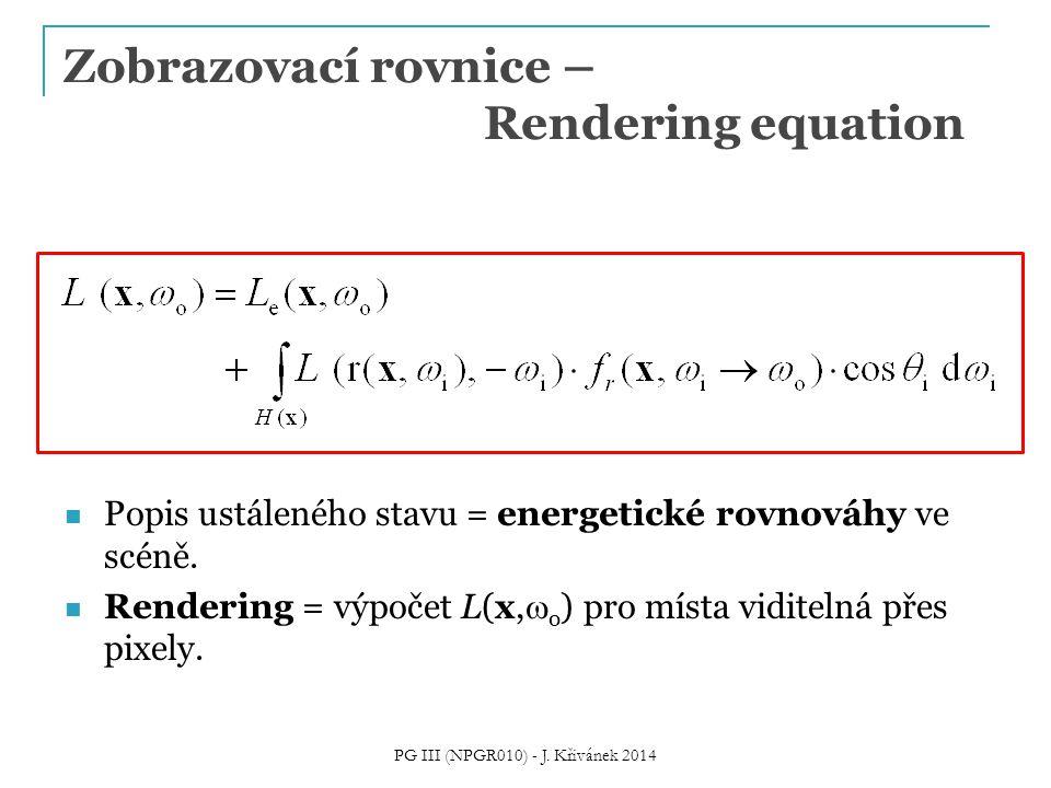 Zobrazovací rovnice – Rendering equation Popis ustáleného stavu = energetické rovnováhy ve scéně.