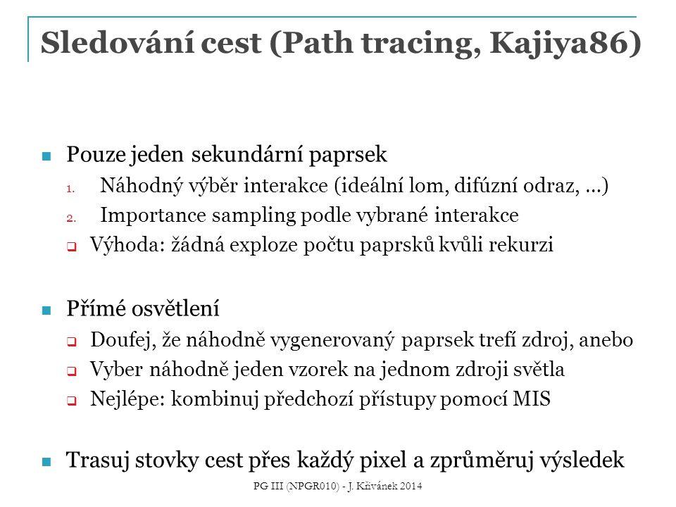 Sledování cest (Path tracing, Kajiya86) Pouze jeden sekundární paprsek 1.