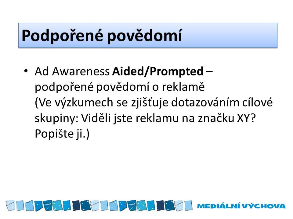 Podpořené povědomí Ad Awareness Aided/Prompted – podpořené povědomí o reklamě (Ve výzkumech se zjišťuje dotazováním cílové skupiny: Viděli jste reklamu na značku XY.