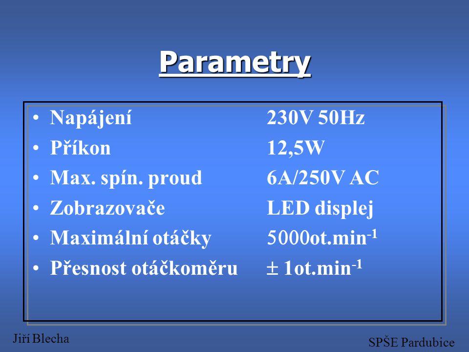 Program Jiří Blecha SPŠE Pardubice nulovat RAM nastavení adres přerušení test segmentů zvuková signalizace spuštění přerušení měření otáček implicitně