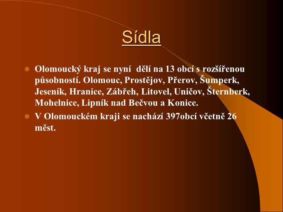 Sídla Regionální město je Olomouc má přibližně 102 000 obyvatel. Celý region byl rozdělen na 5 okresů. OkresPočet ob.Okresní městoPočet ob. Olomoucký2