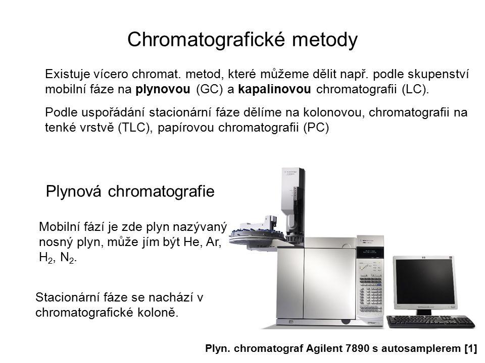 Chromatografické metody Existuje vícero chromat. metod, které můžeme dělit např. podle skupenství mobilní fáze na plynovou (GC) a kapalinovou chromato