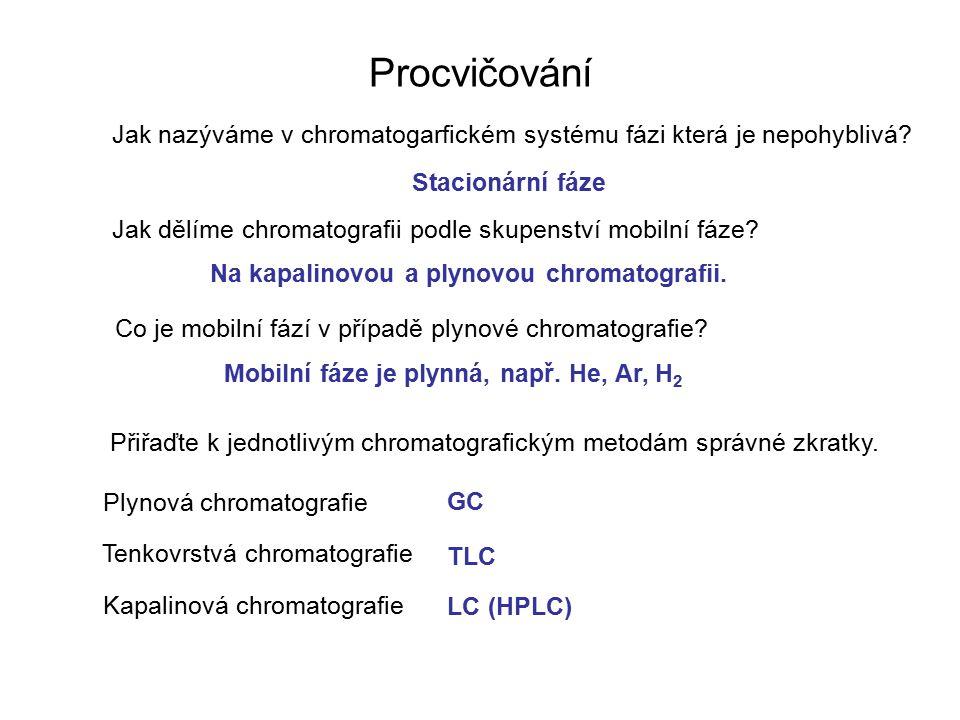 Procvičování Jak nazýváme v chromatogarfickém systému fázi která je nepohyblivá? Jak dělíme chromatografii podle skupenství mobilní fáze? Co je mobiln