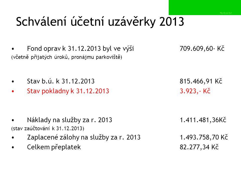 Schválení účetní uzávěrky 2013 Fond oprav k 31.12.2013 byl ve výši 709.609,60- Kč (včetně přijatých úroků, pronájmu parkoviště) Stav b.ú. k 31.12.2013
