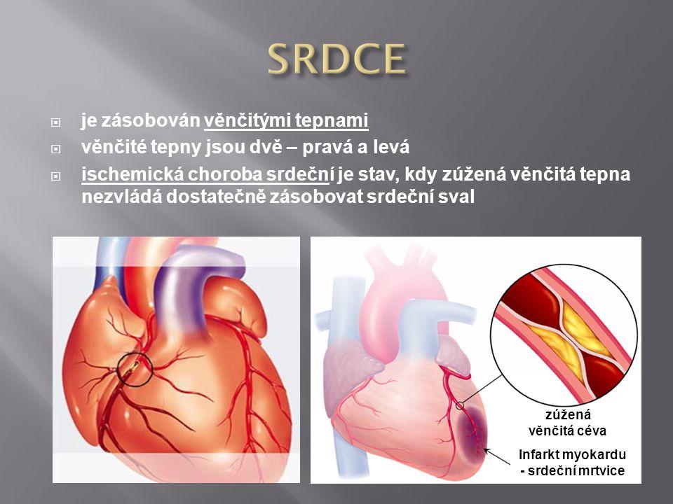  je zásobován věnčitými tepnami  věnčité tepny jsou dvě – pravá a levá  ischemická choroba srdeční je stav, kdy zúžená věnčitá tepna nezvládá dosta