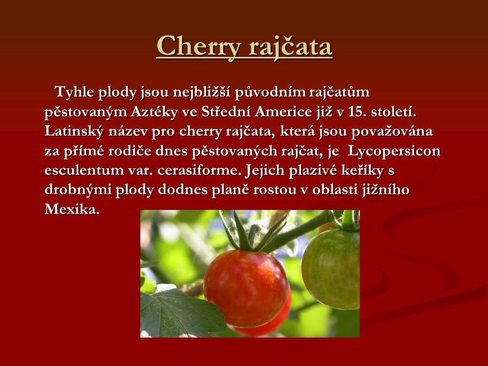 Cherry rajčata Tyhle plody jsou nejbližší původním rajčatům pěstovaným Aztéky ve Střední Americe již v 15. století. Latinský název pro cherry rajčata,