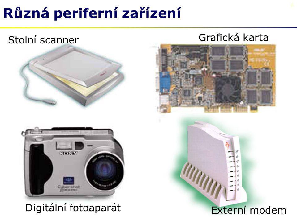 6 Různá periferní zařízení Stolní scanner Grafická karta Digitální fotoaparát Externí modem