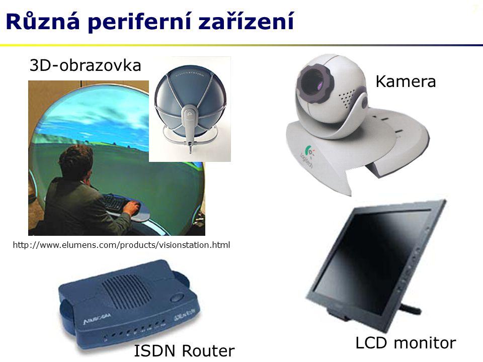 7 Různá periferní zařízení 3D-obrazovka http://www.elumens.com/products/visionstation.html ISDN Router LCD monitor Kamera