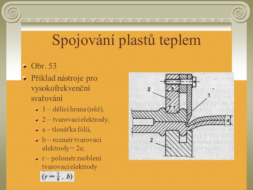 Spojování plastů teplem Vlastní vysokofrekvenční svařovací zařízení sestává z vysokofrekvenčního generátoru, lisu a svařovacích elektrod (obr. 53 – vi